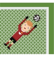 pixel art football soccer goalkeeper in red vector image vector image