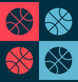 pop art basketball ball icon isolated on color
