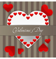 Postcard with big white paper heart and small red vector image vector image