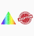 rainbow colored pixel warning icon and vector image vector image