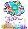 Science equipment and icons vector image vector image
