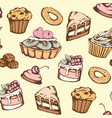 seamless pattern with candies and cakes vector image vector image