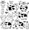 Set Of Isolated Funny Cow Icons vector image