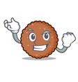 successful chocolate biscuit character cartoon vector image vector image
