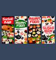 sushi bar asian food banners japan restaurant vector image vector image