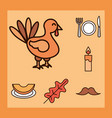 thanksgiving day cartoon turkey dinner candle vector image vector image