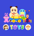 toys and kids boy and girl with fluffy panda vector image