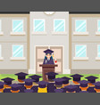 tribune speech students crowd female graduate vector image