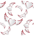 White hearts with wings flying Insulated on white vector image vector image