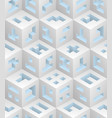 whiteblue cubes isometric seamless pattern vector image