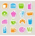 Food Drinks sticker icon set vector image