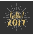 hello 2017 Merry Christmas Happy New Year Hand vector image