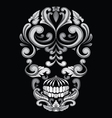 Skull Ornamental Indonesian Style vector image