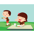 Cute student girl greet friend vector image