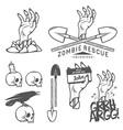 Funny Halloween zombie design elements vector image