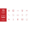 15 study icons vector image vector image