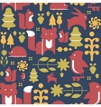 Autumn Plants and Animals in Flat Style Seamless vector image