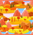 autumn seamless pattern with trees mountains and vector image vector image