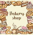 background with bakery products vector image vector image
