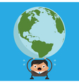 Business Man Holding Heavy Planet Earth vector image