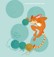 cat and knitting ball cartoon character vector image vector image