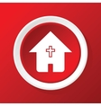 Christian house icon on red vector image