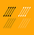 cotton swabs set black and white icon vector image vector image