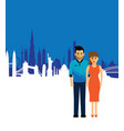 couple on a cityscape background vector image vector image