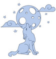 cute little howling wolf hand drawn vector image vector image