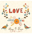 Elegant love card with birds vector image