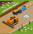 farming robots isometric composition vector image vector image