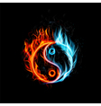 Fire burning Yin Yang with black background vector image