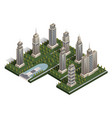 flat isometric landscape city building skyscraper vector image vector image