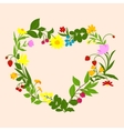 Floral heart frame with flowers and berries vector image vector image