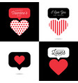 four lovely card valentine red heart vector image vector image