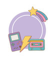 game boy cassette and lighting frame vector image