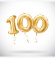 golden number 100 hundred metallic balloon party vector image vector image