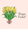 hand drawn easter gift card with tulips vector image vector image