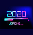 happy new year 2020 with loading icon blue neon vector image vector image
