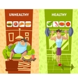 Healthy And Unhealthy Man Banners Set vector image vector image