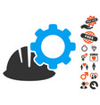 helmet and gear icon with dating bonus vector image vector image