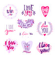 i love you calligraphy text phrases valentine day vector image vector image