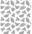 ink butterflies seamless pattern hand drawn vector image