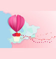 lover hot air balloon flying with heart float on vector image vector image