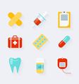 Medicine icons set in flat design Elements of vector image vector image