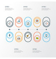music icons colored line set with guitar vector image vector image