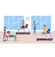people having workout in gym vector image vector image