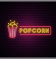 popcorn neon sign glowing neon emblem vector image vector image