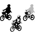 preschooler girl cycling sketch and silhouette vector image vector image