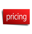 pricing red paper sign on white background vector image vector image